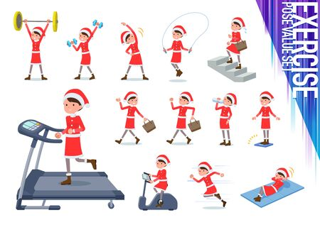 A set of Santa Claus costume women on exercise and sports.There are various actions to move the body healthy.It's vector art so it's easy to edit.