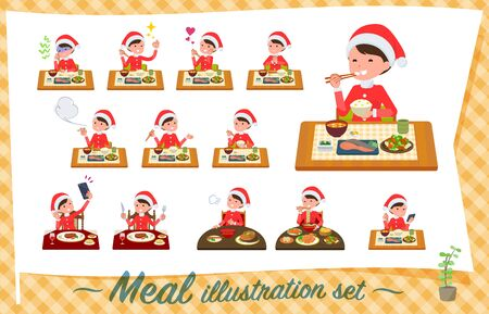 A set of Santa Claus costume women about meals.Japanese and Chinese cuisine, Western style dishes and so on.Its vector art so its easy to edit. Ilustrace