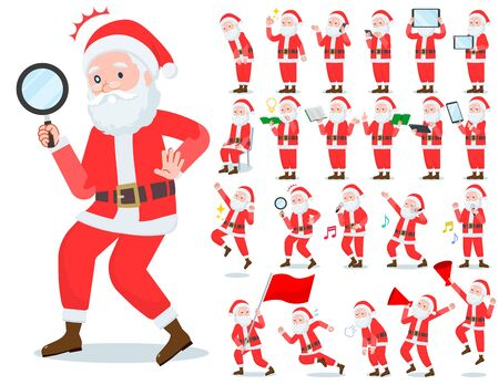 A set of Santa Claus with digital equipment such as smartphones.There are actions that express emotions.Its vector art so its easy to edit. Ilustração