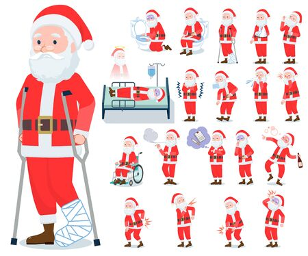 A set of Santa Claus with injury and illness.There are actions that express dependence and death.It's vector art so it's easy to edit. Illustration