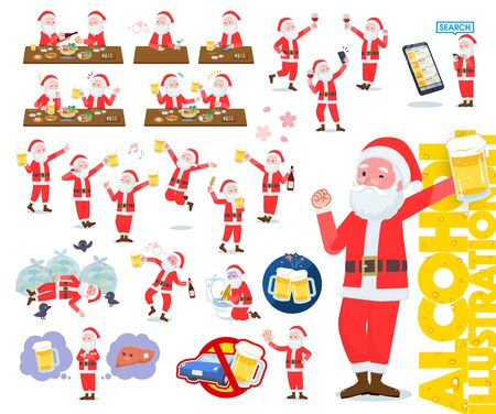 A set of Santa Claus related to alcohol.There is a lively appearance and action that expresses failure about alcohol.Its vector art so its easy to edit.