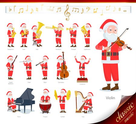 A set of Santa Claus on classical music performances.There are actions to play various instruments such as string instruments and wind instruments.Its vector art so its easy to edit.