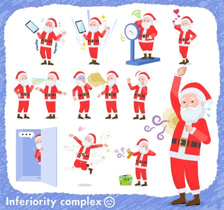 A set of Santa Claus on inferiority complex.There are actions suffering from smell and appearance.It's vector art so it's easy to edit. Archivio Fotografico - 133801649