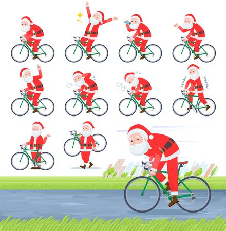 A set of Santa Claus on a road bike.There is an action that is enjoying.Its vector art so its easy to edit.
