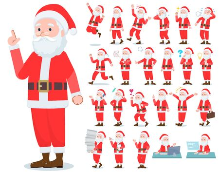 A set of Santa Claus with who express various emotions.There are actions related to workplaces and personal computers.It's vector art so it's easy to edit.