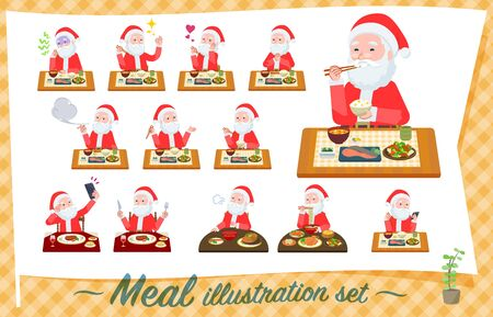 A set of Santa Claus about meals.Japanese and Chinese cuisine, Western style dishes and so on.Its vector art so its easy to edit.