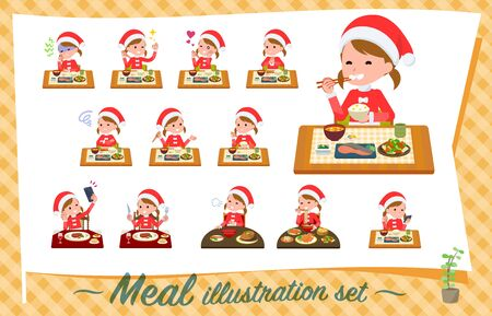 set of Santa Claus costume girl about meals.Japanese and Chinese cuisine, Western style dishes and so on.It's vector art so it's easy to edit. Stock Vector - 134844881