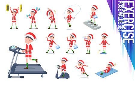 set of Santa Claus costume boy on exercise and sports.There are various actions to move the body healthy.Its vector art so its easy to edit.  Ilustração