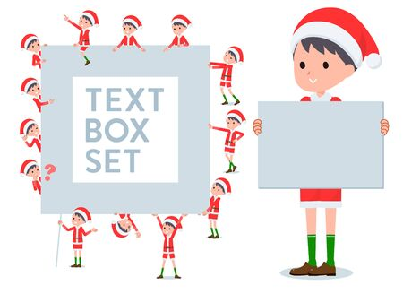 set of Santa Claus costume boy with a message board.Since each is divided, you can move it freely.Its vector art so its easy to edit.