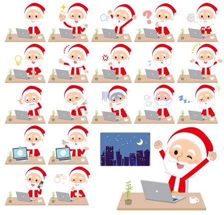A set of Santa Claus on desk work.There are various actions such as feelings and fatigue.Its vector art so its easy to edit.  Illustration