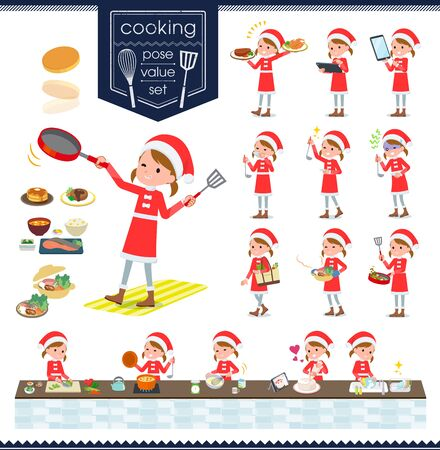 set of Santa Claus costume girl about cooking.There are actions that are cooking in various ways in the kitchen.It's vector art so it's easy to edit.