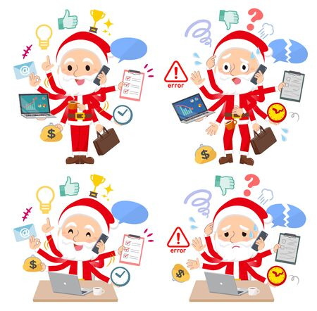 A set of Santa Claus who perform multitasking in the office.There are things to do smoothly and a pattern that is in a panic.Its vector art so its easy to edit.
