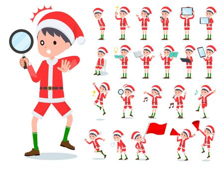 set of Santa Claus costume boy with digital equipment such as smartphones.There are actions that express emotions.Its vector art so its easy to edit.