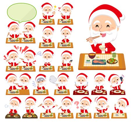 A set of Santa Claus about meals.Japanese and Chinese cuisine, Western style dishes and so on.Its vector art so its easy to edit.  Illusztráció