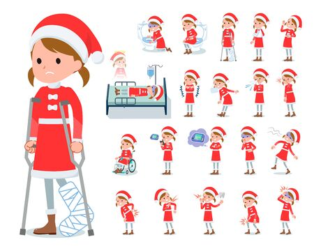 set of Santa Claus costume girl  with injury and illness.There are actions that express dependence and death.Its vector art so its easy to edit.  Ilustracja