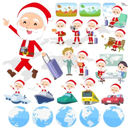 A set of Santa Claus on travel.There are also vehicles such as boats and airplanes.Its vector art so its easy to edit.