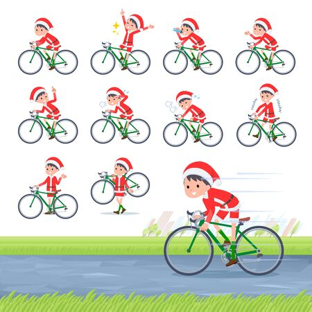 set of Santa Claus costume boy on a road bike.There is an action that is enjoying.Its vector art so its easy to edit.