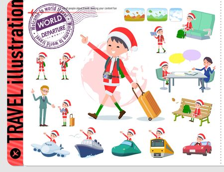 set of Santa Claus costume boy on travel.There are also vehicles such as boats and airplanes.Its vector art so its easy to edit.
