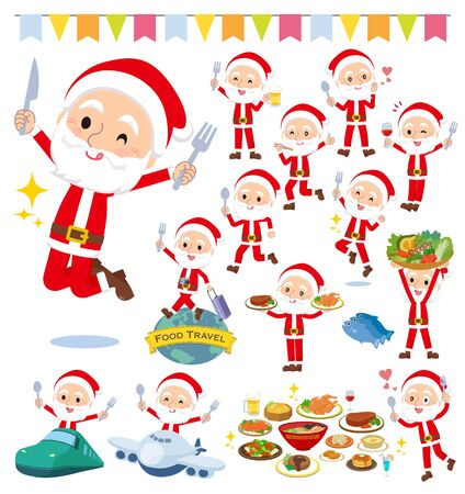 A set of Santa Claus on food events.There are actions that have a fork and a spoon and are having fun.It's vector art so it's easy to edit. Stock Vector - 134844902
