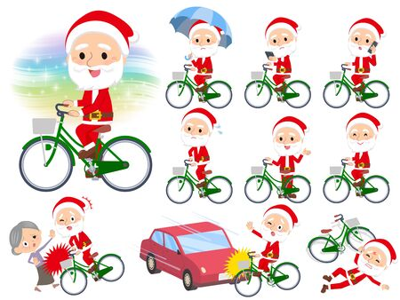 A set of Santa Claus riding a city cycle.There are actions on manners and troubles.Its vector art so its easy to edit.  Illusztráció