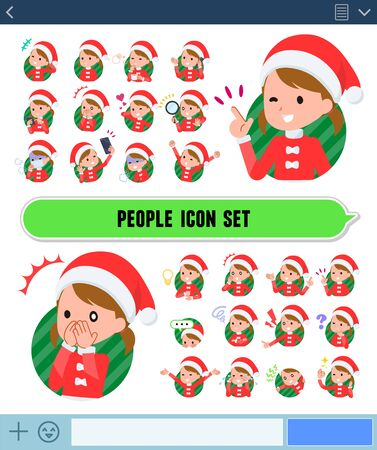 set of Santa Claus costume girl  with expresses various emotions on the SNS screen.There are variations of emotions such as joy and sadness.Its vector art so its easy to edit.