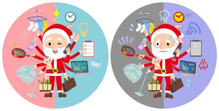 A set of Santa Claus who perform multitasking in offices and private.There are things to do smoothly and a pattern that is in a panic.It's vector art so it's easy to edit. Çizim
