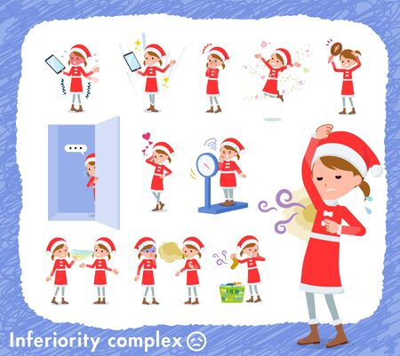 set of Santa Claus costume girl  on inferiority complex.There are actions suffering from smell and appearance.Its vector art so its easy to edit.