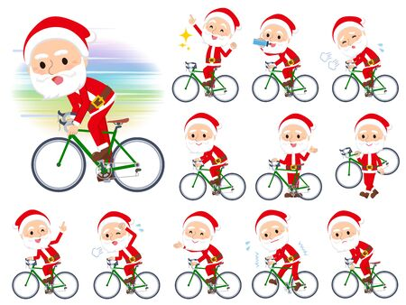A set of Santa Claus on a road bike.There is an action that is enjoying.Its vector art so its easy to edit.  Ilustração