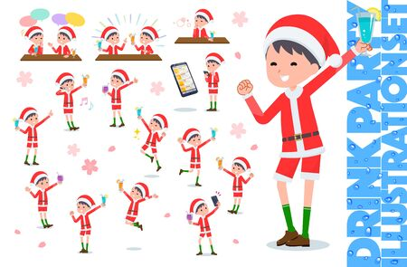 set of Santa Claus costume boy related to alcohol.There is an action to express a lively scene.It's vector art so it's easy to edit.