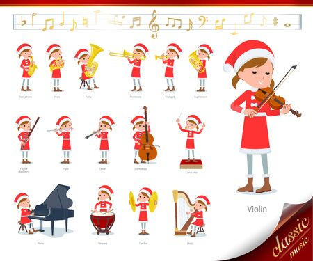 set of Santa Claus costume girl on classical music performances.There are actions to play various instruments such as string instruments and wind instruments.It's vector art so it's easy to edit. Ilustracje wektorowe
