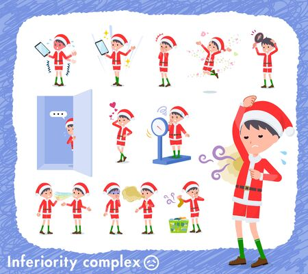 set of Santa Claus costume boy on inferiority complex.There are actions suffering from smell and appearance.Its vector art so its easy to edit.