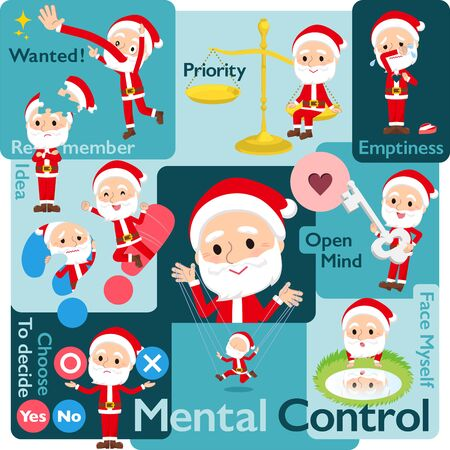 A set of Santa Claus who control emotions.A variety of image illustrations expressing self emotion.It's vector art so it's easy to edit.