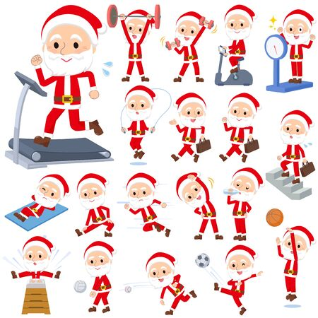A set of Santa Claus on exercise and sports.There are various actions to move the body healthy.It's vector art so it's easy to edit. Foto de archivo - 134845034