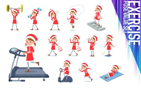 set of Santa Claus costume girl on exercise and sports.There are various actions to move the body healthy.It's vector art so it's easy to edit.