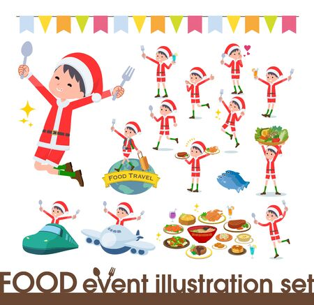 set of Santa Claus costume boy on food events.There are actions that have a fork and a spoon and are having fun.Its vector art so its easy to edit.