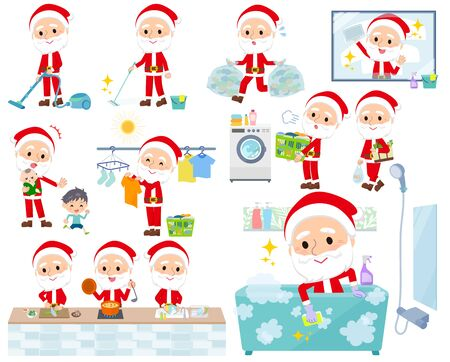 A set of Santa Claus related to housekeeping such as cleaning and laundry.There are various actions such as cooking and child rearing.Its vector art so its easy to edit.  Ilustracja