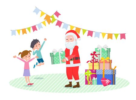 A scene in which Santa Claus is giving a present to a child.Its vector art so its easy to edit.
