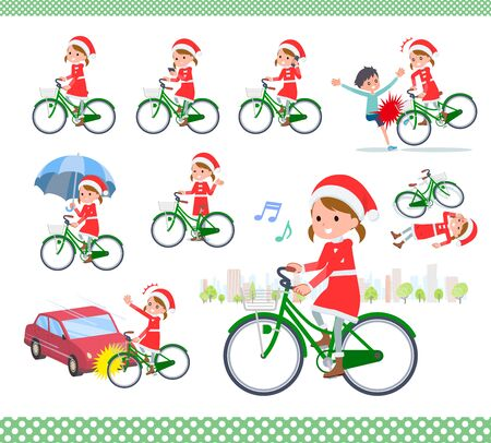 set of Santa Claus costume girl  riding a city cycle.There are actions on manners and troubles.Its vector art so its easy to edit.