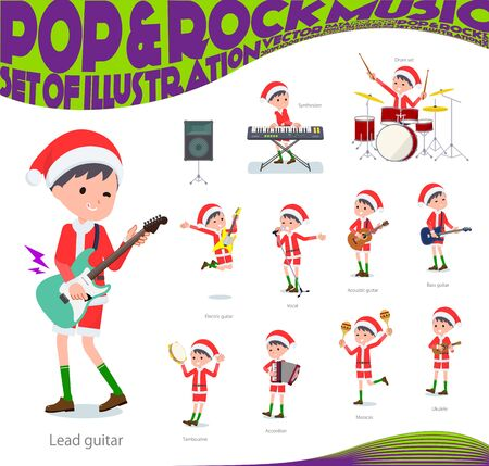 set of Santa Claus costume boy playing rock n roll and pop music.There are also various instruments such as ukulele and tambourine.Its vector art so its easy to edit.