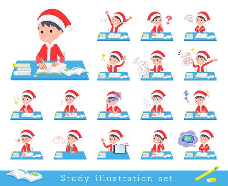 set of Santa Claus costume boy on study.There are various emotions and actions.Its vector art so its easy to edit. Illusztráció