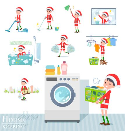 set of Santa Claus costume boy related to housekeeping such as cleaning and laundry.There are various actions such as child rearing.Its vector art so its easy to edit.