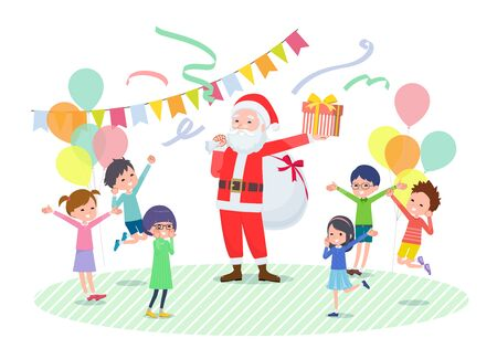 A scene in which Santa Claus is giving a present to a many children.Its vector art so its easy to edit.