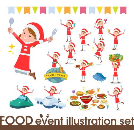 set of Santa Claus costume girl  on food events.There are actions that have a fork and a spoon and are having fun.Its vector art so its easy to edit.