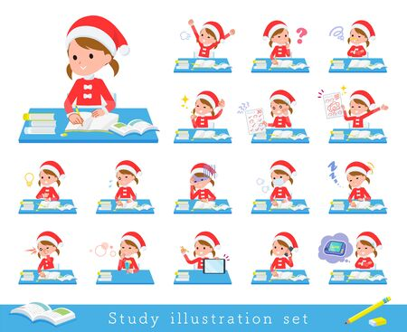 set of Santa Claus costume girl  on study.There are various emotions and actions.Its vector art so its easy to edit.