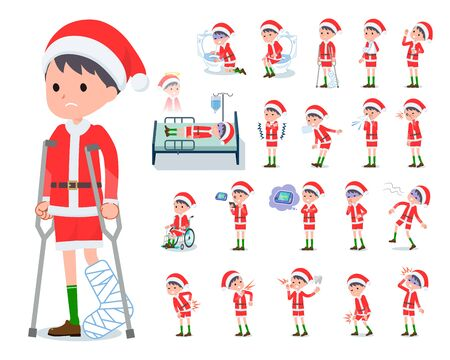 set of Santa Claus costume boy with injury and illness.There are actions that express dependence and death.Its vector art so its easy to edit.