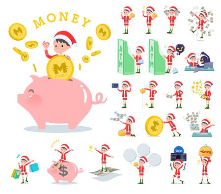 set of Santa Claus costume boy with concerning money and economy.There are also actions on success and failure.Its vector art so its easy to edit.