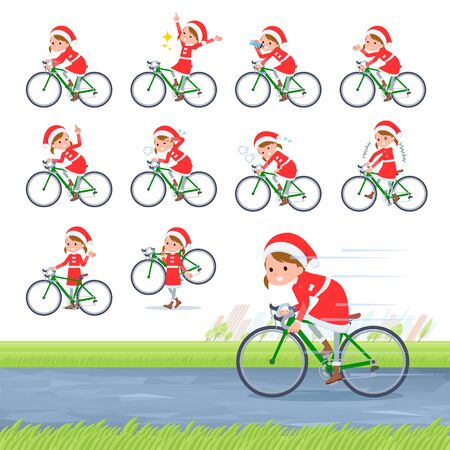 set of Santa Claus costume girl  on a road bike.There is an action that is enjoying.Its vector art so its easy to edit.
