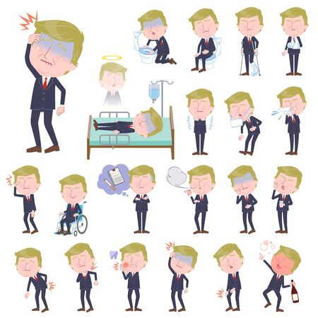 A set of blond hair old men with injury and illness.There are actions that express dependence and death.It's vector art so it's easy to edit.