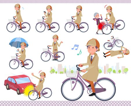 A set of Detective man riding a city cycle.There are actions on manners and troubles.It's vector art so it's easy to edit.