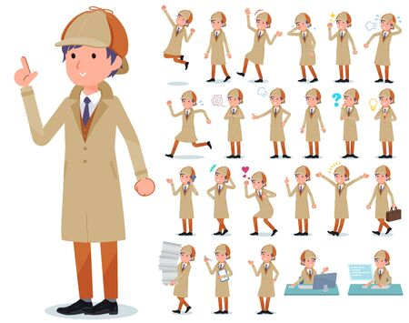 A set of Detective man with who express various emotions.There are actions related to workplaces and personal computers.It's vector art so it's easy to edit.